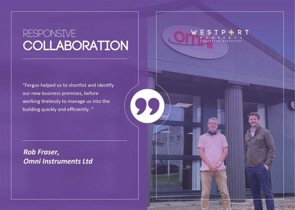 Image of Rob and Fergus outside Omni Instruments Ltd buiding